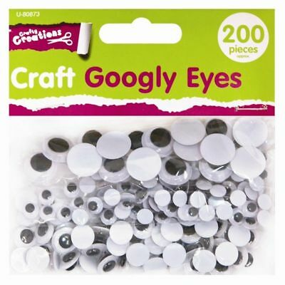 200 Googly Wiggly Wobbly Eyes For Crafts NEW Mixed Sizes