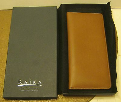 RAIKA Artistry in Leather Handcrafted Light Brown Passport Wallet NEW in the Box