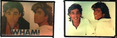 GEORGE MICHAEL WHAM  x 2  sew on photo patches. vintage, white shirts,  set 1