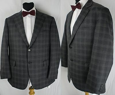 Vintage 1980s Box Checked Blazer 42 44 Jacket Washington Tailors Custom Bespoke