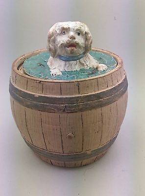 Tabaktopf Tobacco Jar Terracotta Hund Im Fass C. 1890 Dog In Barrel Marked J.k.