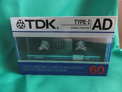 TDK AD 60 TYPE 1 blank cassette tape New and sealed