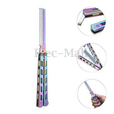 Butterfly Balisong Trainer Training COMB Knife Tool Black Metal Practice NEW