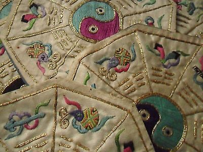 Six Antique/Vintage Chinese Embroidered Silk Octagons/Mats