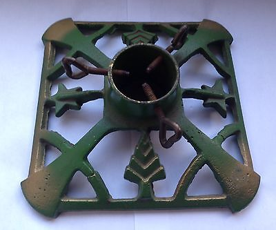 Vintage Art Deco Style Cast Iron Metal Christmas Tree Stand Base Decoration