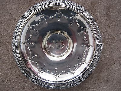 Ornate Sheffield Silver Plate Pedestal Serving Tray