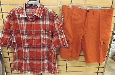 Men's Mossimo Red Plaid Shirt Size Xl Merona Cargo Divine Red Shorts Size 36 Nwt