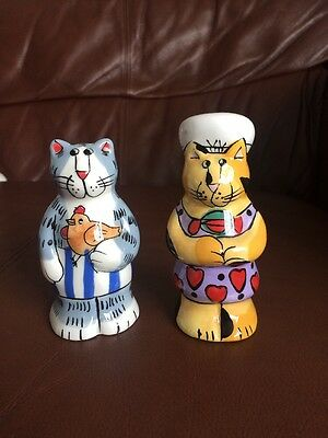 Ginger Cat And Silver Tabby Cat Salt And Pepper Shakers 13cm Tall Mothers Day