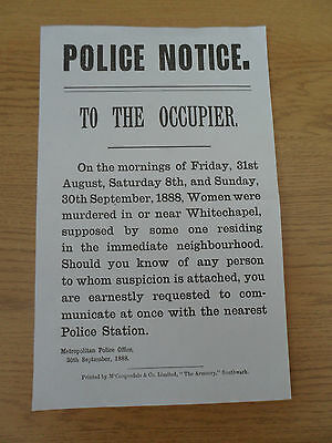 Jack the Ripper ~ POLICE NOTICE ~1888