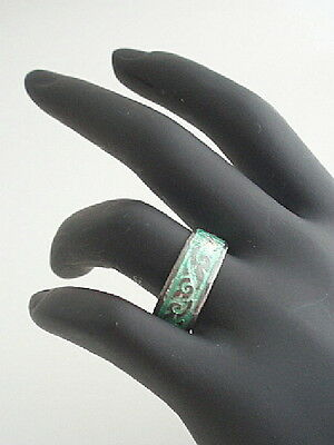SIAM Sterling Silver Inlay Green Enamel Vintage Ring Sz 6