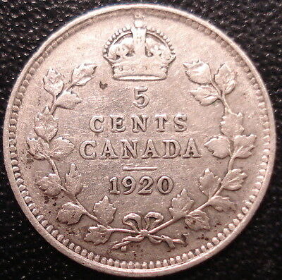 1920 Canada 5 Cents Silver Coin! King George V!