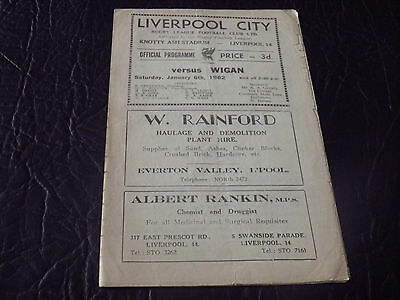 Liverpool City V Wigan 61/62 Rugby League Programme.