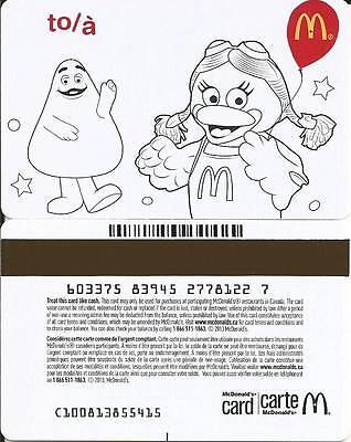 Mcdonald's Grimace Early Bird Mint Gift Card From Canada Bilingual No Value