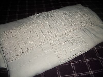 Antique Twin Coverlet Linen & Crochet Monogram Not Perfect Free Shipping