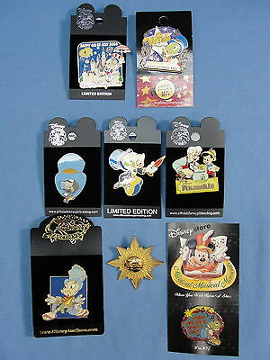 Very Rare Walt Disney Pins Lot Of 8 Jiminy Cricket Limited Editions Htf Wdw