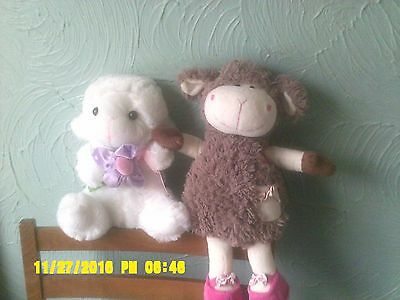 Lamb Soft Toy X 2 One White And One Brown Both In Very Good Condition