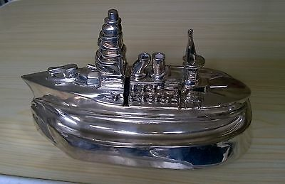 1920'S Chromed Metal Cigarette Box  With Lighterin The Form Of A Ww1 Cruiser