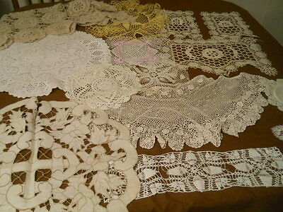 Lot Vtg Hand Crochet Machine Made Lace Pieces Crafts Cutters Repurpose