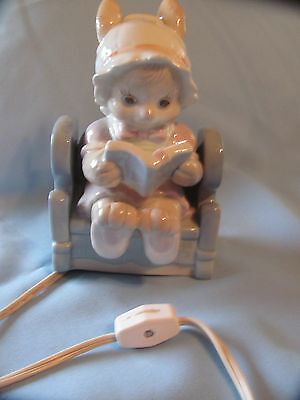 Old  Porcelain Bunny Rabbit w Book Shaped Lamp Night Light