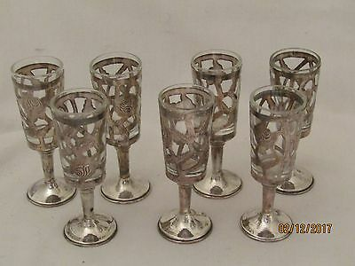 Set of 7 Vintage Mexican Sterling Silver Cordials & Glass Inserts