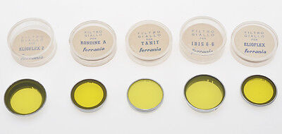 Ferrania, lot of 5 yellow filters for various cameras, Tanit, Elioflex....