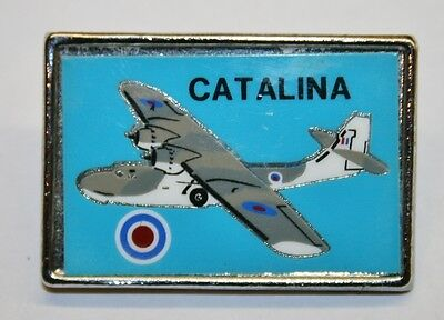 "Vintage ""CATALINA"" Flying Boat Chrome Pin Badge"