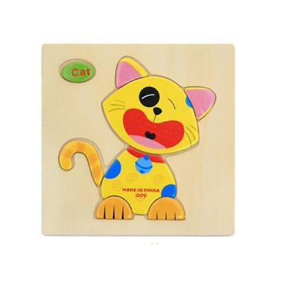 Wooden Cartoon Cat Shape Puzzle Educational Developmental Baby Kids Toy Gift