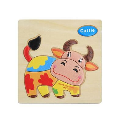 Wooden Cartoon Cattle Shaped Puzzle Educational Developmental Baby Kids Toy