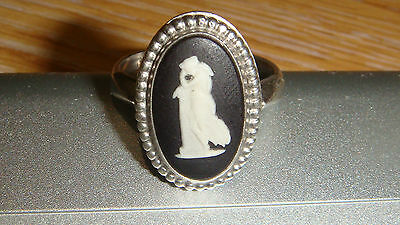 Vintage Wedgwood Black Jasperware Cameo Andromache Ring Sterling Silver O/P?