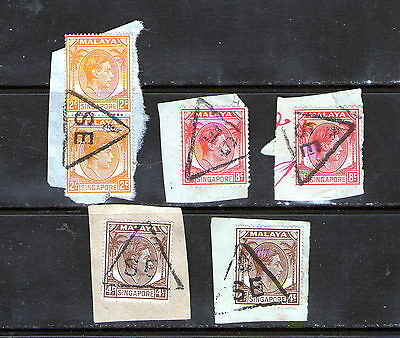 On Piece Singapore stamps with triangular censor cancels.   49p ask.