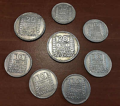 Lot 8 Pieces TURIN 20 francs et 10 francs ARGENT