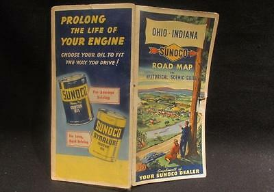 Sunoco Rand McNally Road Map & Historical Scenic Guide Ohio Indiana As Is 1949