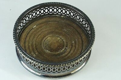 Vintage Silverplated with Wood Base Wine Bottle Coaster/Holder