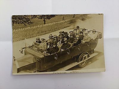 Old Social History Postcard Early Photo People in a Charabanc Touring Bus Cars