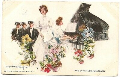 Old Postcard-HOWARD CHANDLER CHRISTY-'''THE SWEET GIRL GRADUATE'''-posted 1910.