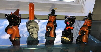 (5) Vintage Old Halloween Candles - Skull, Witches, Black Cat