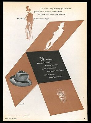 1947 Disney men's fedora hat Paul Rand modern graphic vintage print ad