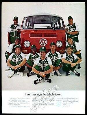1969 VW Volkswagen bus microbus baseball team color photo vintage print ad