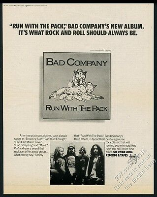 1976 Bad Company photo Run With The Pack album release vintage print ad