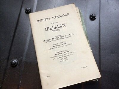 Hillman Husky 1955 issue owners handbook