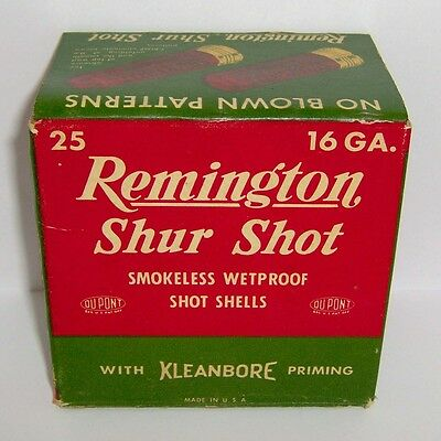 "Vintage Remington ""shur Shot"" 16 Ga. 'empty' Shotgun Shell Box * L@@k!"