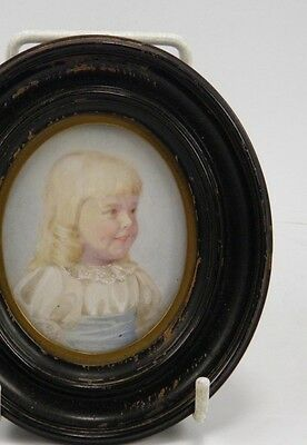 Antique early 20th century miniature portrait painting of a pretty young girl