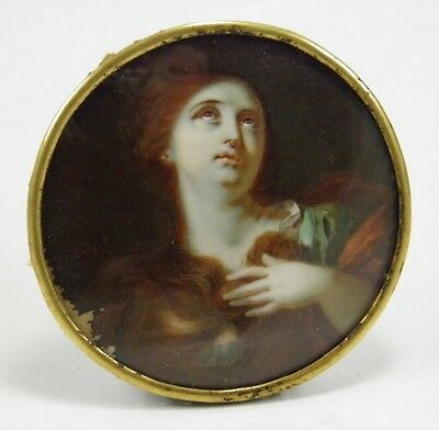 Antique early 19th century miniature portrait painting religious Madonna study