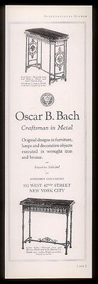1924 Oscar B Bach NYC wrought iron bronze 2 table photo vintage print ad