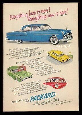 1951 Packard blue 300 & yellow green red car vintage print ad