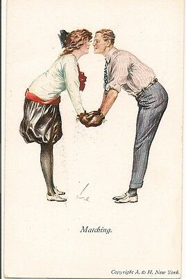 Old Postcard-COUPLE IN BOXING GLOVES-''MATCHING'''-Artist Signed.