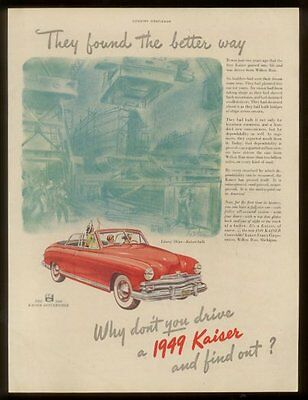 1949 Kaiser-Frazer convertible red car vintage print ad