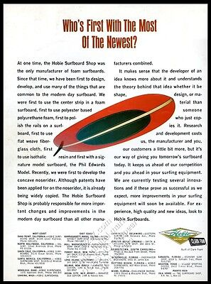 1965 Hobie surfboard photo surfboards shops locations vintage print ad