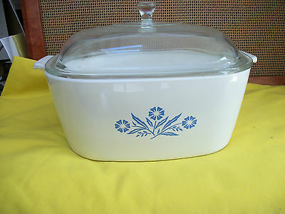 Corning Ware Blue Cornflower 4 Quart Casserole Clear Glass Lid w Knob P-84-B NMT