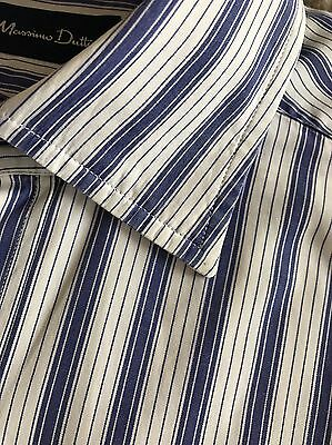 Lovely Blue & White Striped Button Cuff Shirt By Massimo Dutti Size Medium